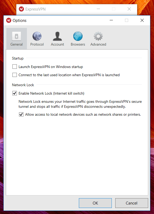 Vpn express network lock