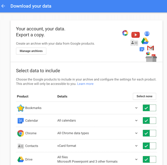 mjum how to delete data from google account