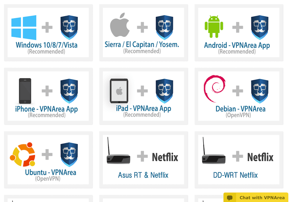 VPNArea with Windows, Android, and Mac OS.