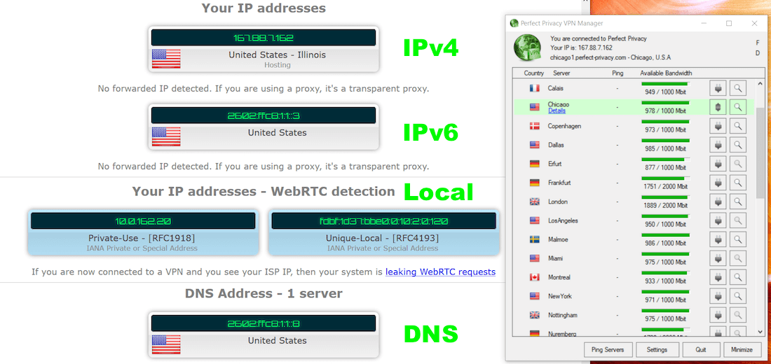 pefect privacy DNS