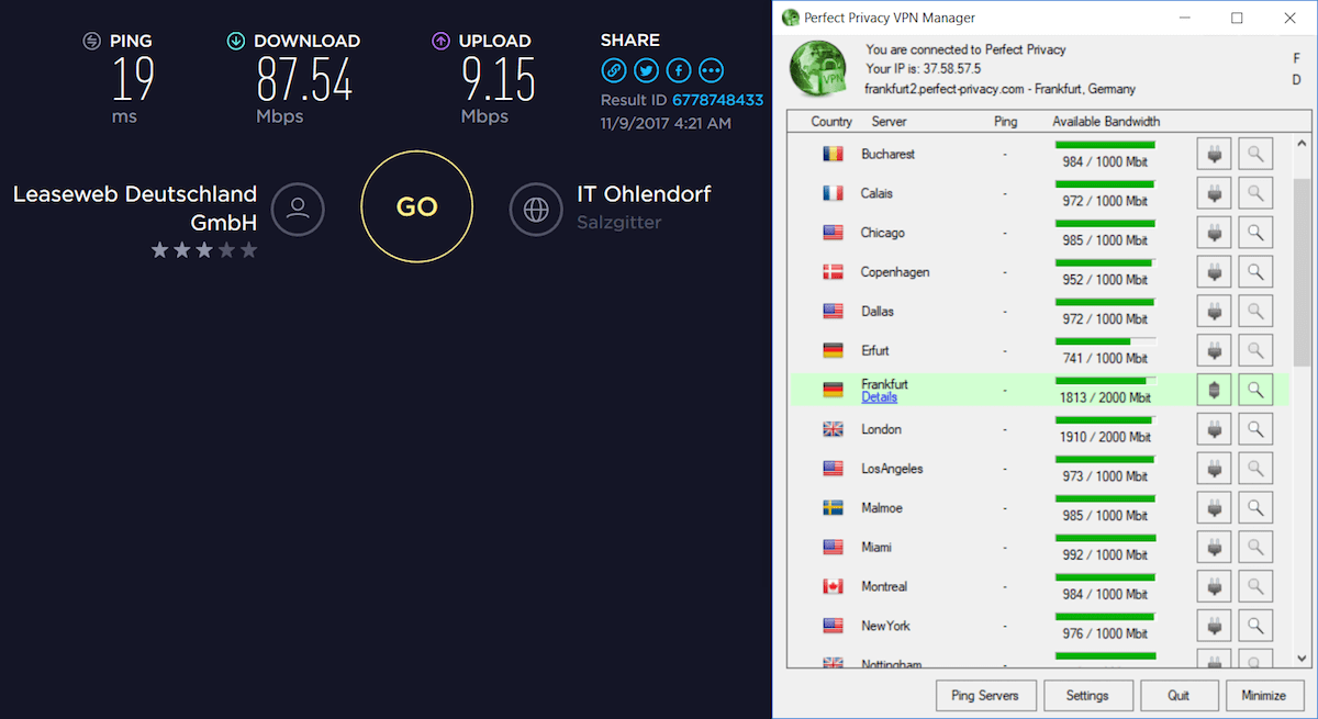 perfect privacy speed test