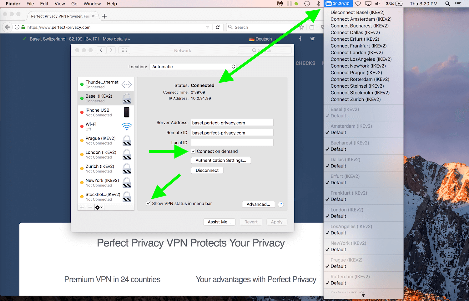 perfect privacy IKEv2