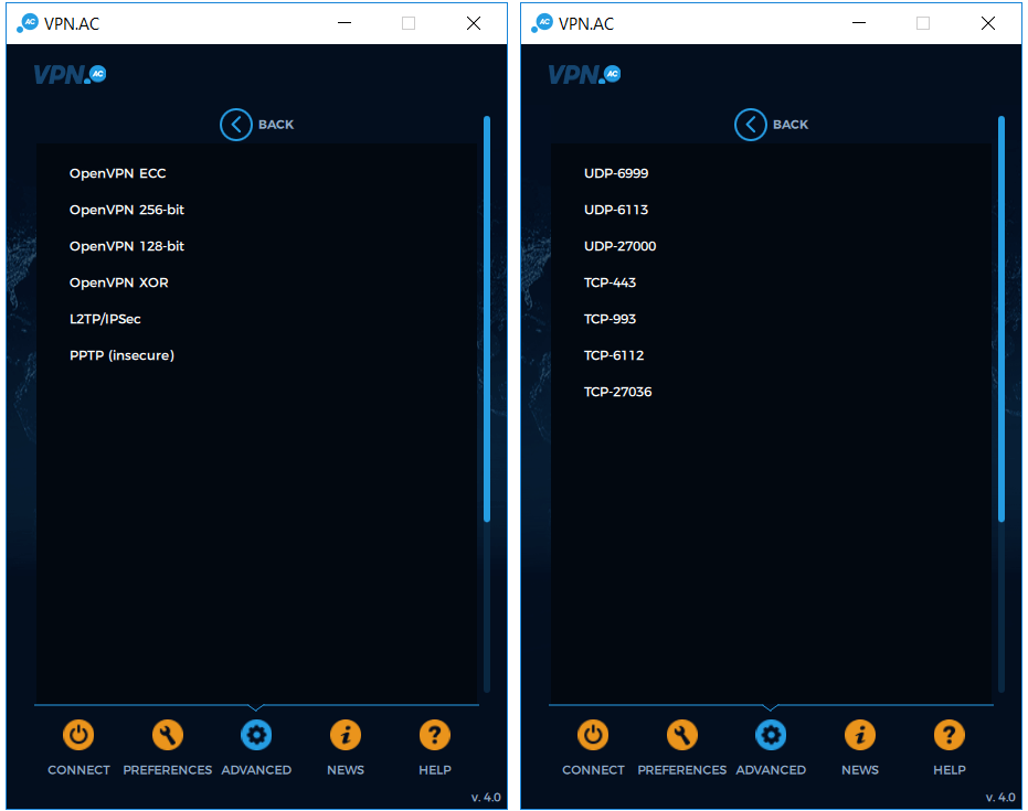 vpnac encryption port selection