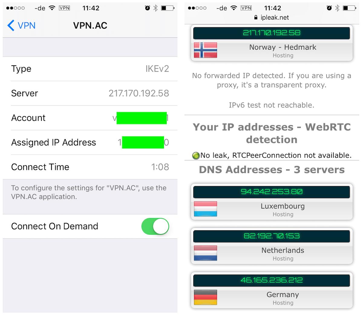 vpnac ios app