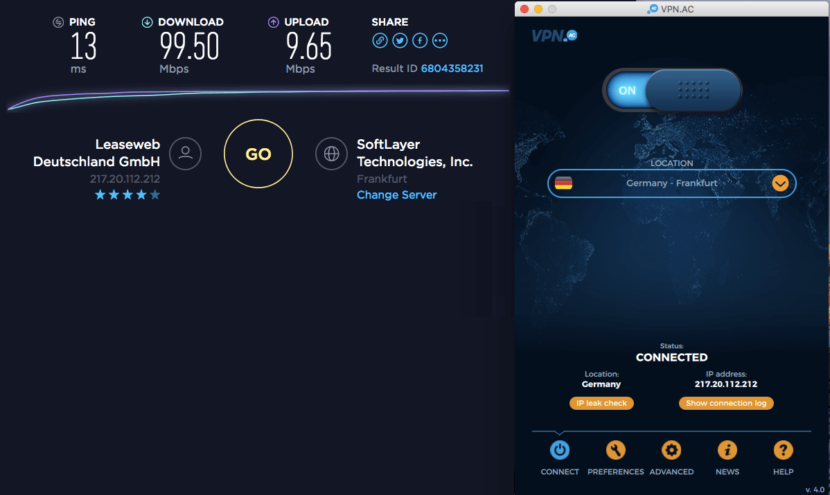 vpnac speed test