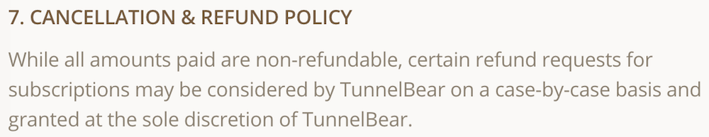 tunnelbear refund