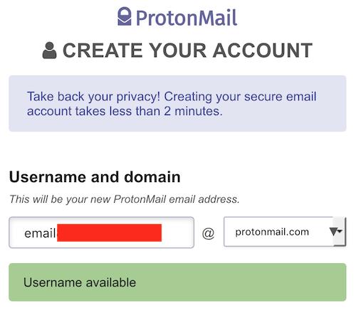 protonmail account setup