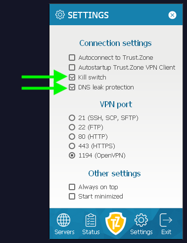 trust zone vpn kill switch dns leak protection