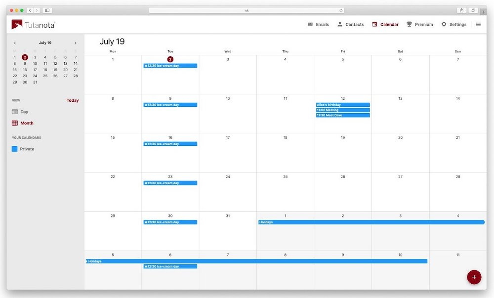 tutanota encrypted calendar