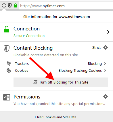 turn off content blocking firefox