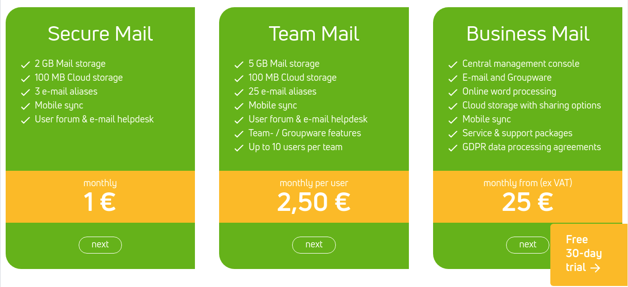 mailbox.org prices