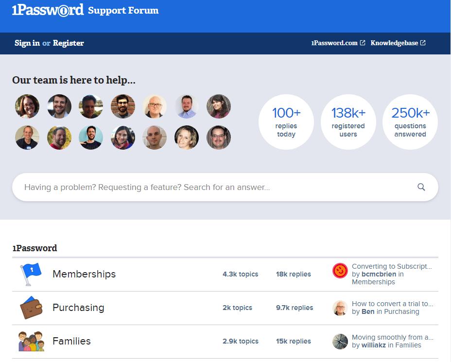 1password support