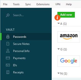 dashlane add passwords