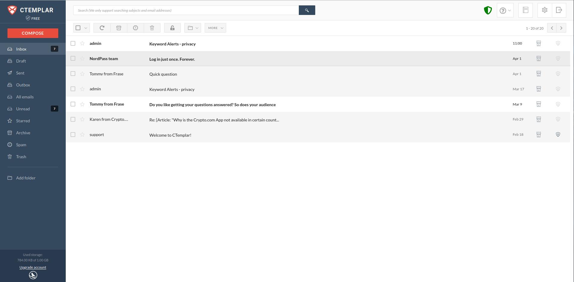 ctemplar inbox email