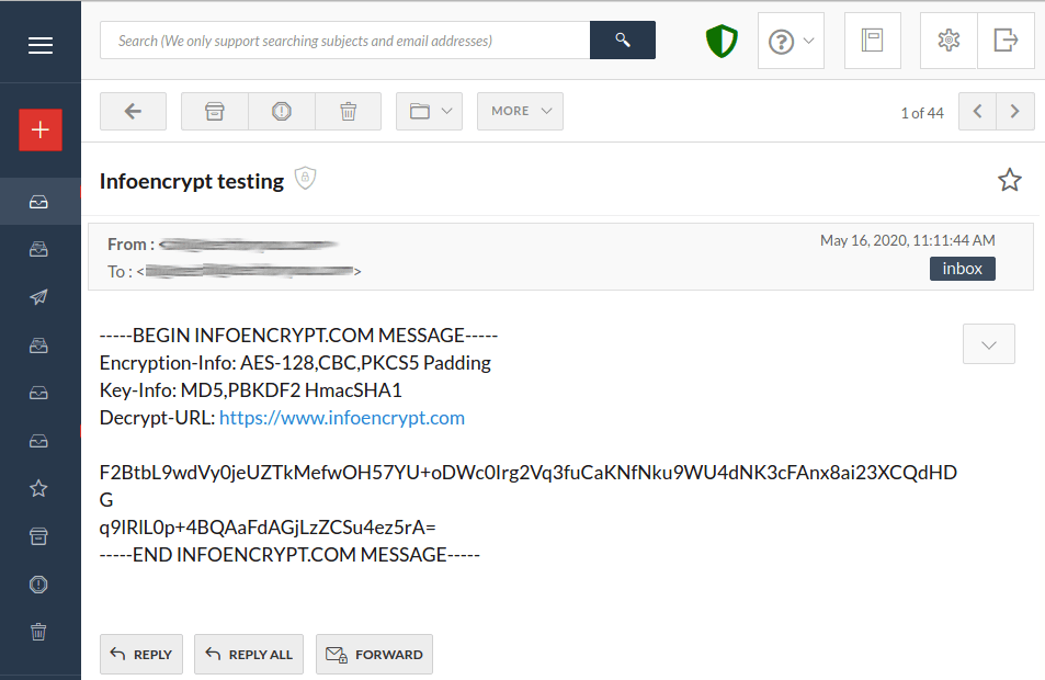 encrypt text with email