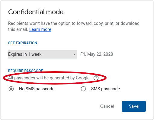 gmail confidential mode encryption