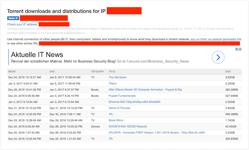 ip address exposed from torrents