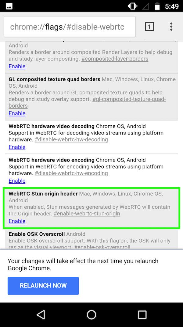 webrtc chrome android disable