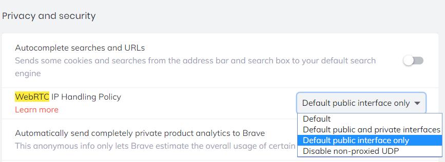 webrtc privacy on brave chromium