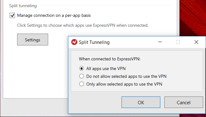 NordVPN split tunneling feature ExpressVPN