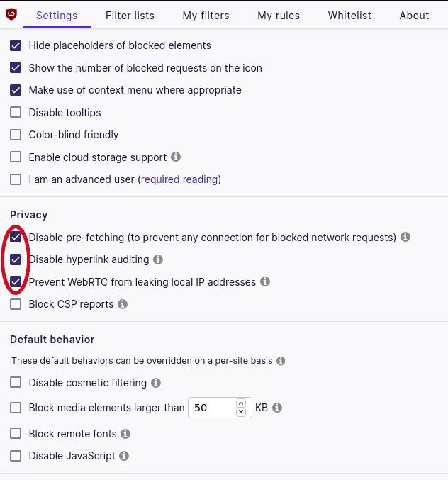 ublock origin privacy settings