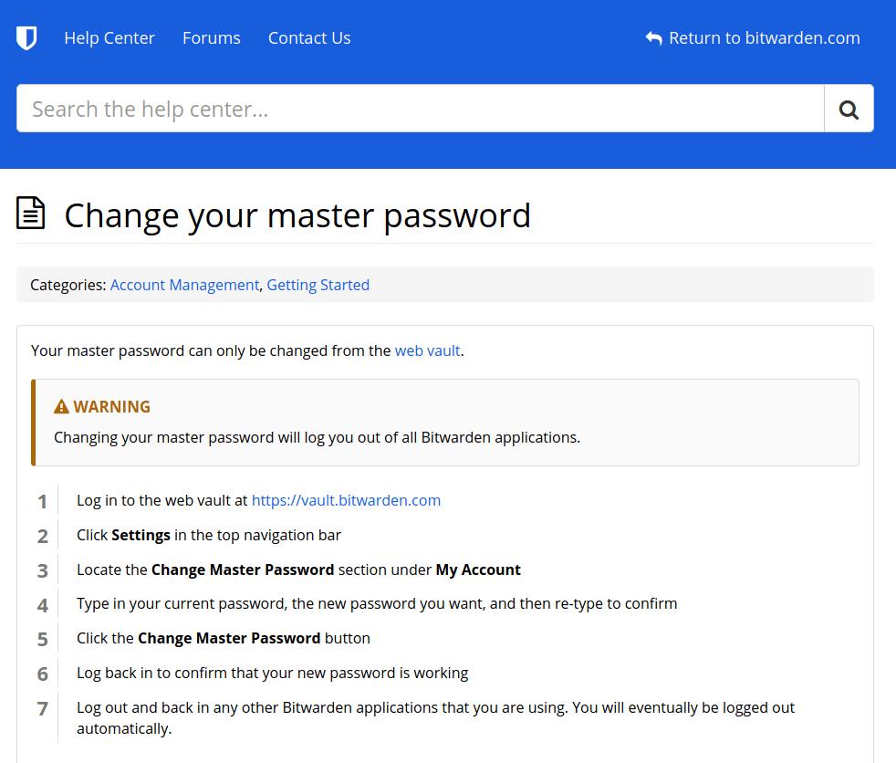 bitwarden change password page