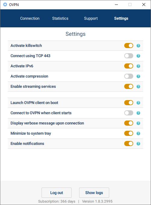 ovpn privacy settings
