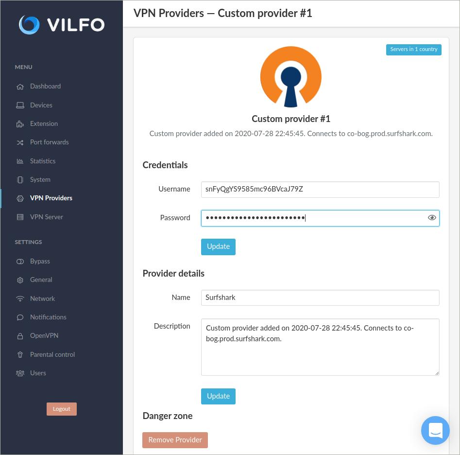 vilfo vpn router custom provider page
