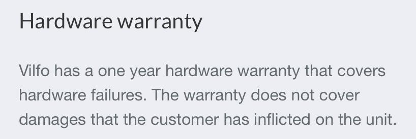 Vilfo router warranty