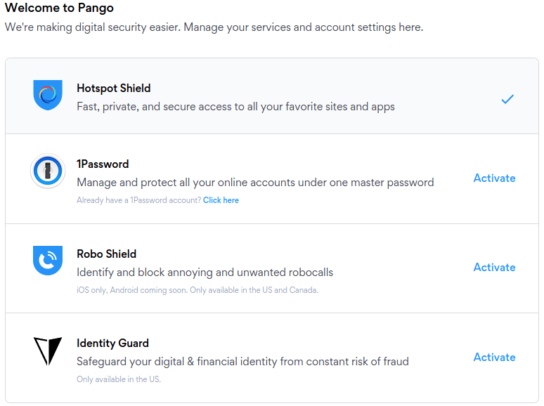 pango hotspot shield VPN