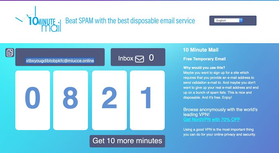 10MinuteMmail temporary email