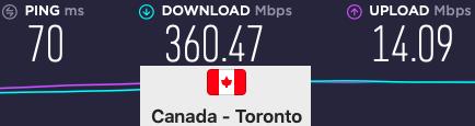 Surfshark Canada VPN speeds