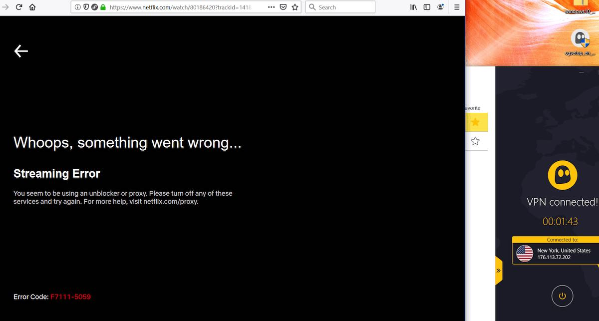 cyberghost netflix not working
