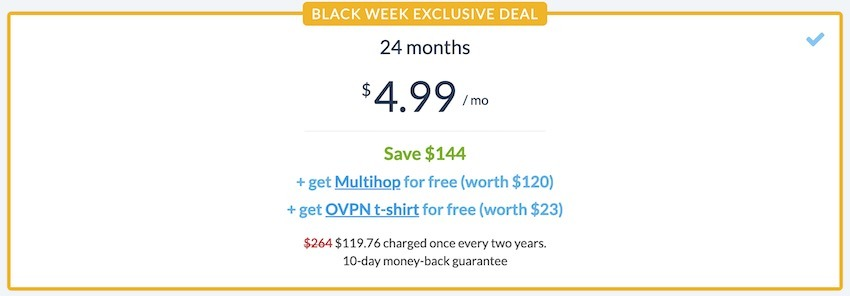 OVPN deal for cyber monday and black friday