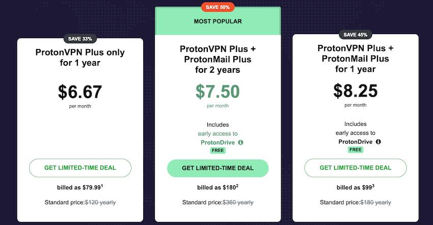 ProtonVPN prices for Black Friday and Cyber Monday