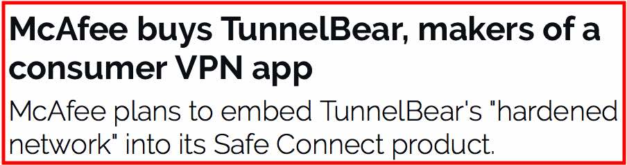 TunnelBear bought by McAfee