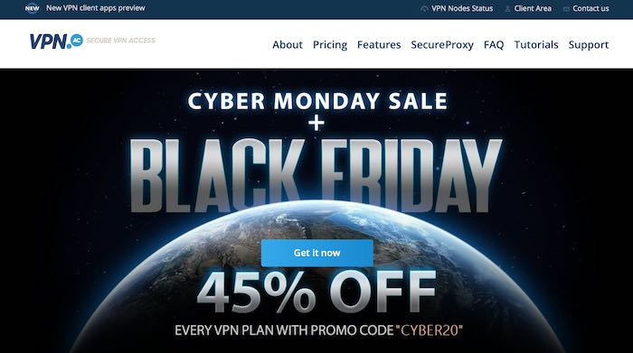 vpn.ac Black Friday and Cyber Monday deal