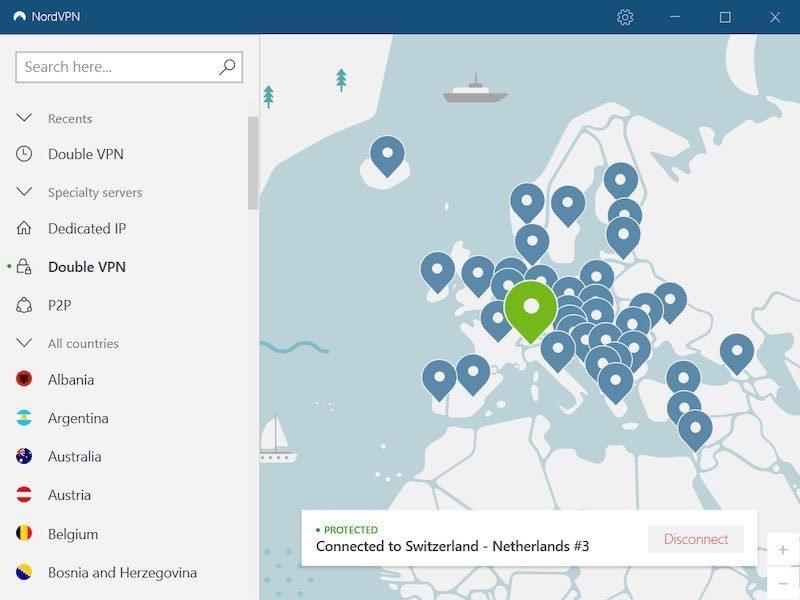 NordVPN double VPN server test