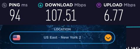 VPNac us speed tests