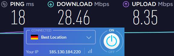 Windscribe VPN speeds