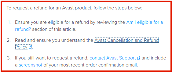 avast refund policy