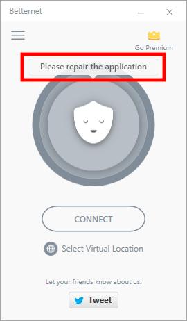betternet connection problems
