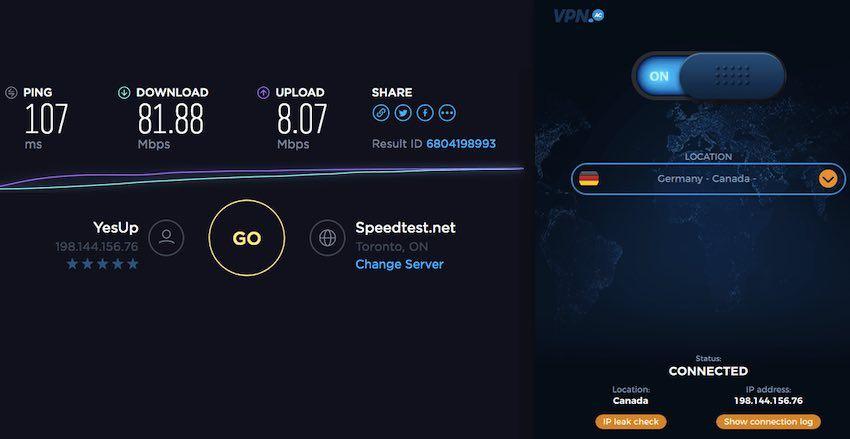 double vpn speeds with vpnac