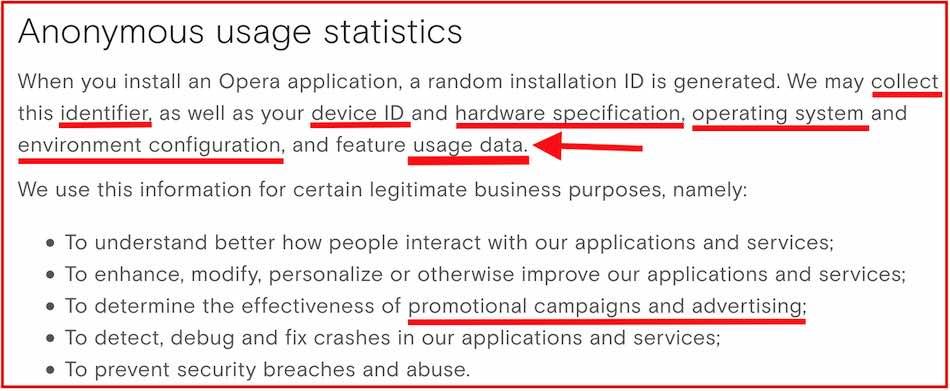 opera browser vpn data logs