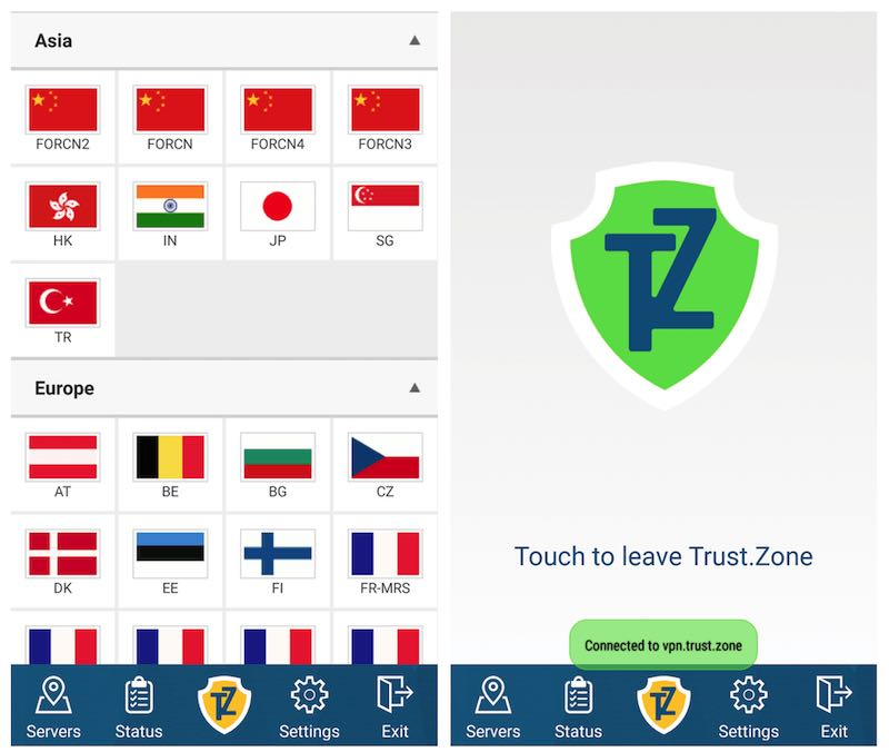 trust zone VPN for android