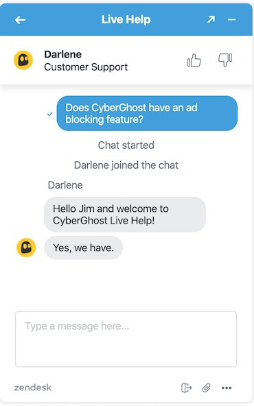 CyberGhost live chat support