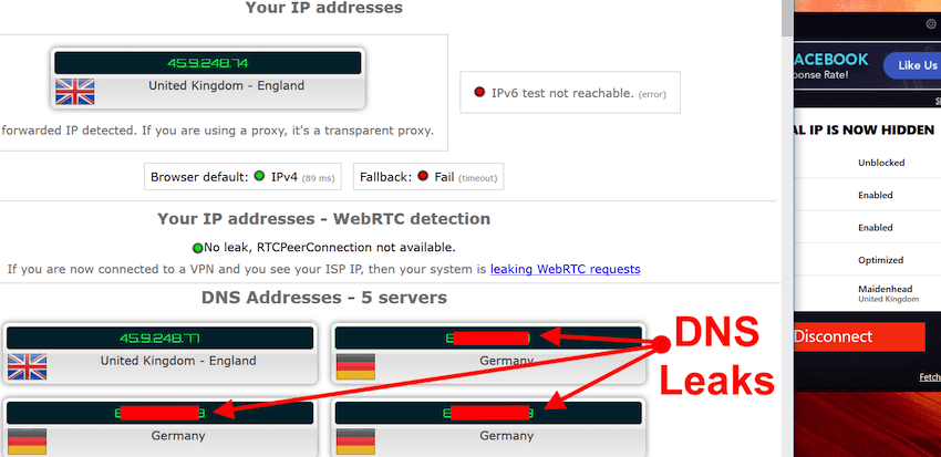 PureVPN leaks DNS requests