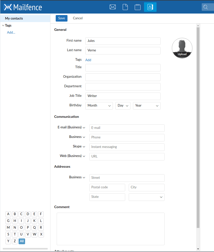 mailfence contacts