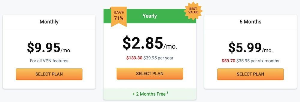 nordvpn and pia price comparison