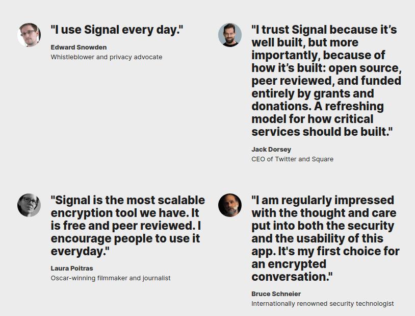 signal messenger endorsements